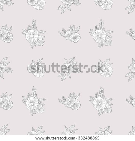 Black And White Vector Pattern of Flowers and leaves.Floral Seamless Outline Monochrome Ornament.