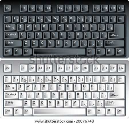 black and white vector pc keyboard - stock vector