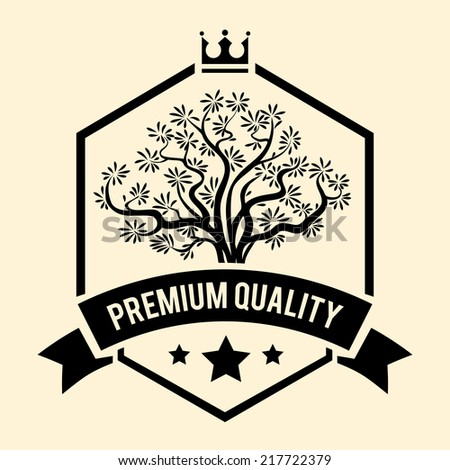 Black and white vector Premium Quality badge or label for Olive Oil with a branching olive tree inside a shield above a ribbon banner with the text - stock vector