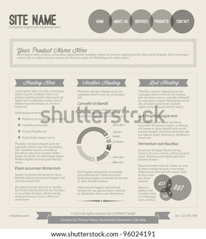 Black and white  Vector Retro vintage grunge web page template