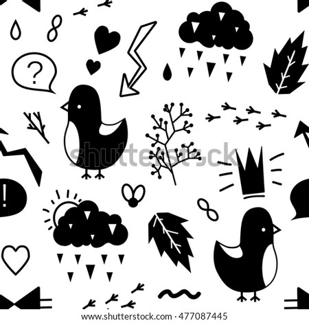 Black and white vector seamless pattern of doodles. Trendy print for modern design.