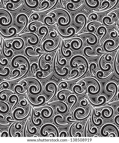 Black and white vector seamless pattern, vintage floral ornament - stock vector