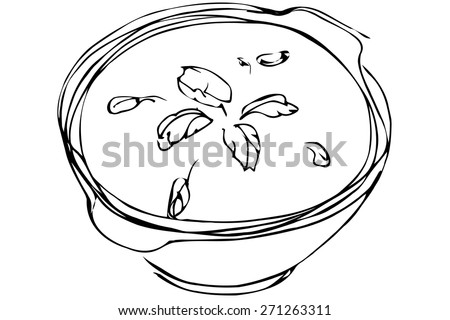 black and white vector sketch bowl of soup with herbs - stock vector
