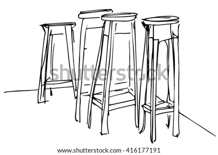 black and white vector sketch four high wooden stool