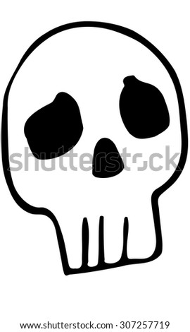 black and white vector sketch funny human skull - stock vector