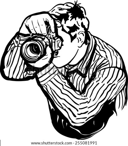 black and white vector sketch of a male photographer takes pictures - stock vector