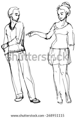 black and white vector sketch of a woman pointing at a man - stock vector