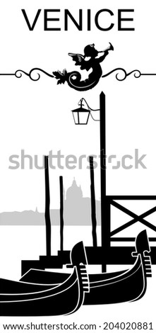 Black and white vector sketch of contour city of Venice and gondola