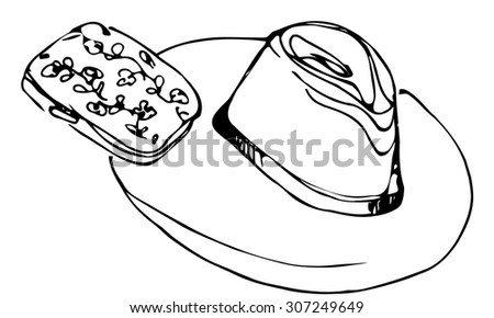 black and white vector sketch of lady's hat and female clutch - stock vector