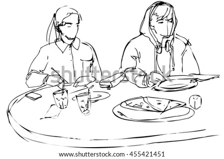 black and white vector sketch of man and woman eating pizza at a cafe