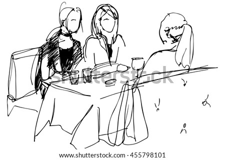 black and white vector sketch of the three girls at a table in a cafe pyut wine