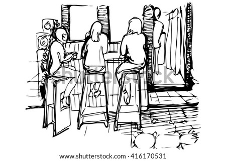 black and white vector sketch of three women on the high stools drinking coffee - stock vector