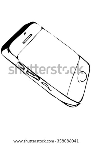 black and white vector sketch of touchscreen mobile phone - stock vector