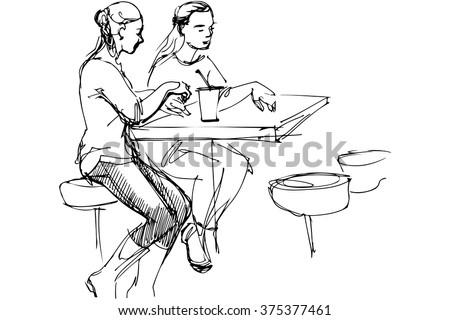 black and white vector sketch of two friends at a table in a cafe - stock vector