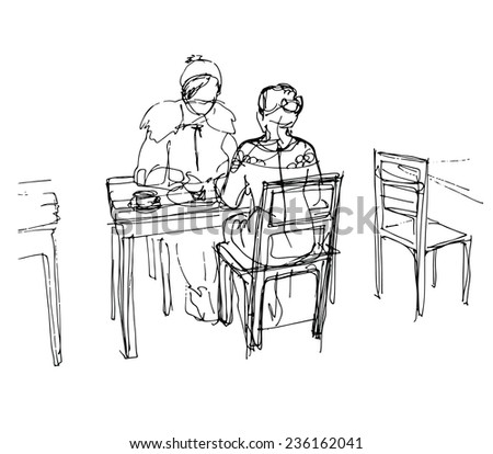 black and white vector sketch of two friends in a cafe at a table drinking tea coffee