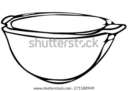 black and white vector sketch porcelain soup plate soup - stock vector
