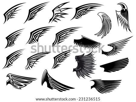 Black and white vector stylized heraldic bird wings showing only a single wing with feather detail - stock vector