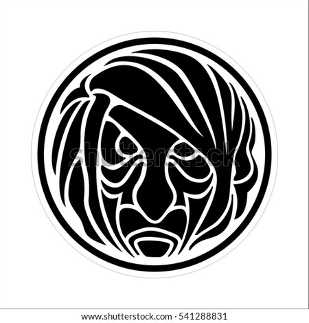 Black and white vector stylized lion in the circle