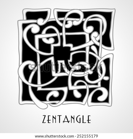 Black and White  vector version.  Monochrome zentangle hand drawn element. - stock vector