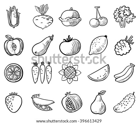 Black and white vegetables and fruits icons vector set in doodle simplicity style - stock vector