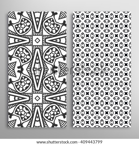 Black and white vertical seamless geometric line patterns set with repeating texture for fabric or paper print, invitations or cards design. Monochrome graphic background, vector collection
