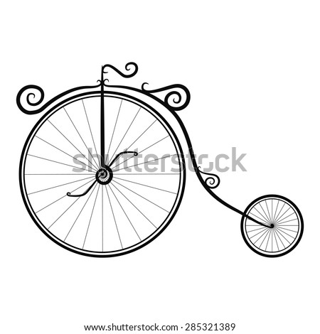 black and white vintage bicycle on a white background - stock vector