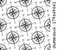 Black and white vintage compass seamless pattern with a star design and angled repeat motif with the points of the compass on a circular base - stock vector