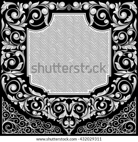 Black and white vintage decorative design - stock vector