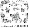Black and white vintage floral design - stock vector
