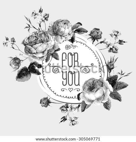 Black and White Vintage Watercolor Round Frame with Blooming English Roses. For You with Place for Your Text. Vector Illustration - stock vector