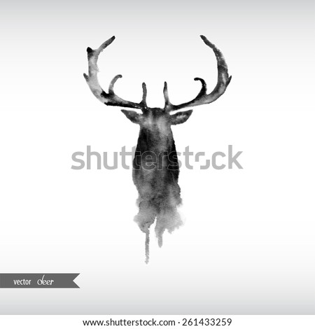 Black and white watercolor deer head. - stock vector