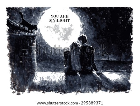 Black and white watercolor hand drawn vector illustration of loving couple sitting on roof, looking at moon under stars in night sky with text place. Good for memory card design or book illustration. - stock vector