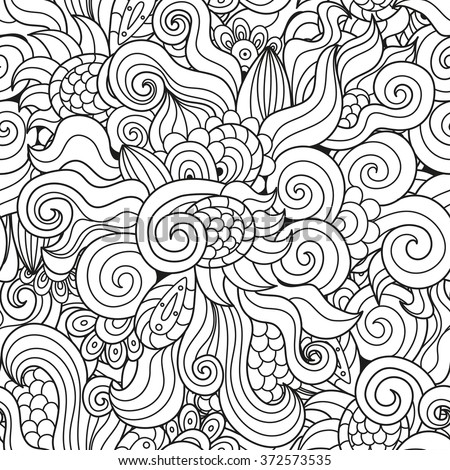 Black and white waves seamless pattern. Abstract hand-drawn texture with twirls, curls. Vector illustration - stock vector