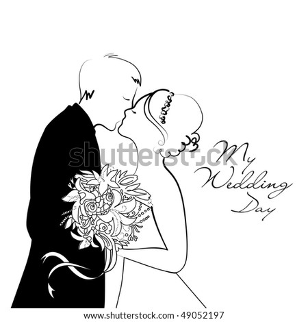 Black and White Wedding Background - stock vector