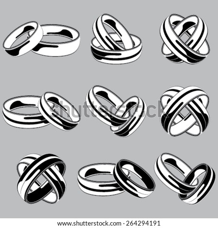 Black and white wedding ring set on isolated background - stock vector