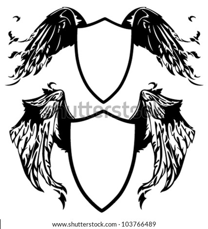 black and white winged shields vector illustration - all elements are editable - stock vector