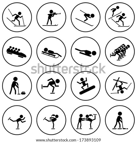 Black and white winter sports vector icons set.