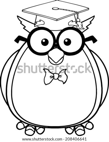 Black And White Wise Owl Teacher Cartoon Character With Glasses Graduate Cap Vector Illustration