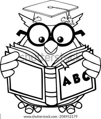 Black And White Wise Owl Teacher Cartoon Mascot Character Reading A ABC Book. Vector Illustration Isolated on white - stock vector