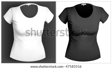 Black and white woman T-shirt design template - stock vector