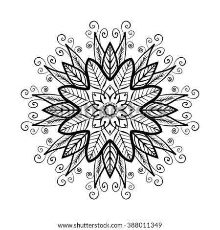 Black and white zentangle round ornament mandala isolated on white background. Floral elements: flowers, leaves. Vector Illustration.  Can be used as package design element, t-short print etc. - stock vector