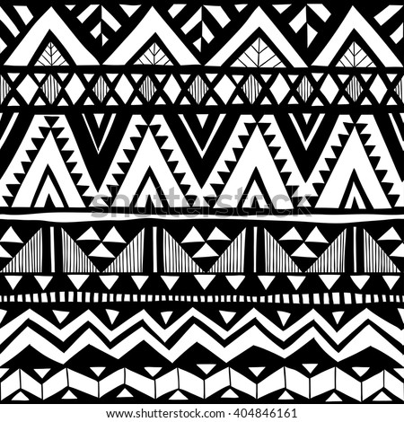 Black and white zigzag tribal vector seamless pattern doodle elements aztec abstract geometric art print
