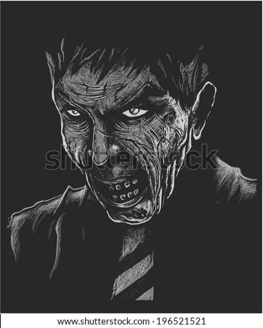 Black and White Zombie Portrait - stock vector