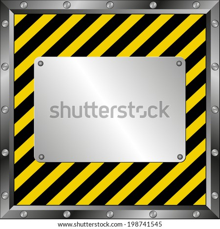 black and yellow  background with metal plate - stock vector