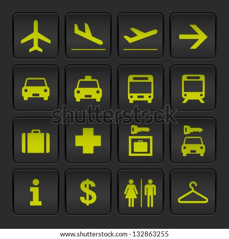 Black and Yellow basic Airport signs - stock vector