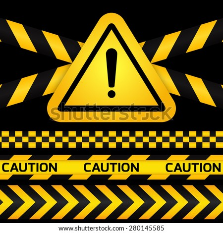 Black and yellow caution striped tapes with yellow hazard warning attention sign on black background. Vector illustration.