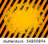 Black and yellow hazard stripes grunge background, vector illustration - stock