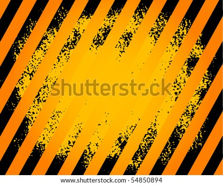 Black and yellow hazard stripes grunge background, vector illustration - stock vector