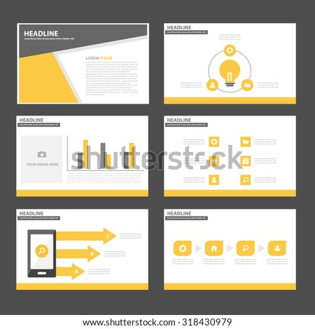 Black and Yellow Infographic elements presentation template flat design set for brochure flyer leaflet - stock vector