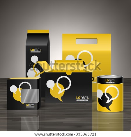 Black and yellow promotional package design for corporate identity with dialog clouds. Stationery set - stock vector